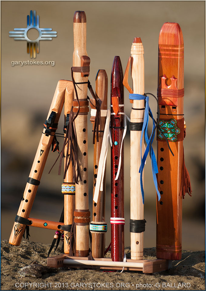 Professional high-resolution photograph of Native American Indian-style flutes by famous American flute makers in North America